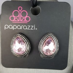 New Earrings CLIP ON Pink Faceted Stone